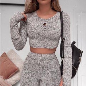 NWOT Gymshark Fleur Texture Set Grey Size S
